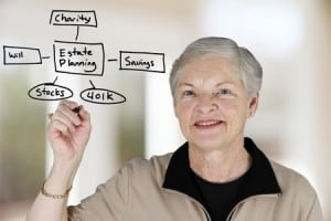 Elderly woman sketching her estate plan into savings, 401K, charity, stocks, and a will