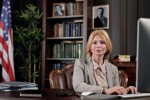 A lawyer sitting in her office